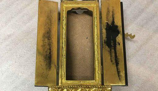 繰出位牌:扉部分の金箔貼り直し修理
